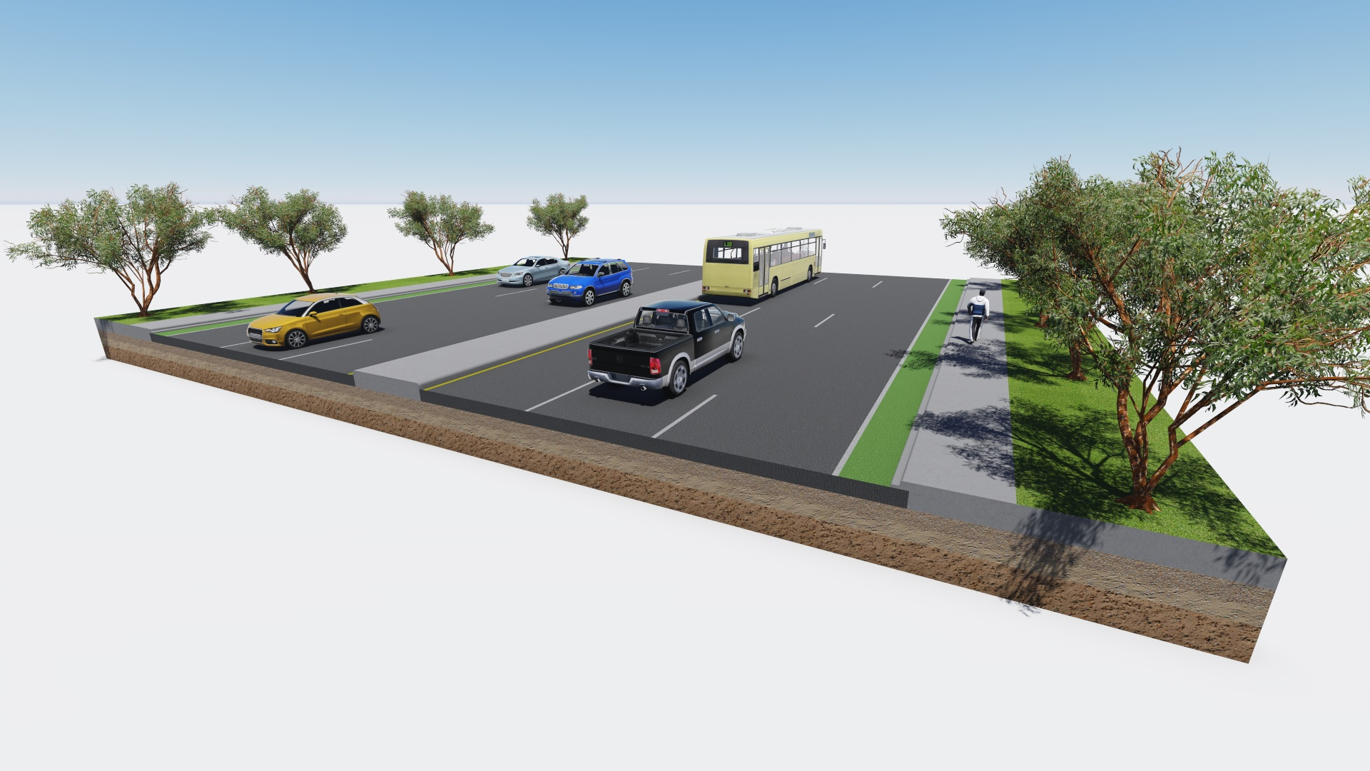 3d road section highway